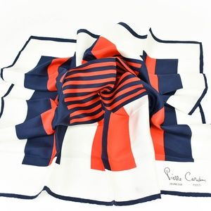 Pierre Cardin Navy/White/Red & Logo Silk Scarf